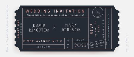 Classic Blue Movie Ticket. Wedding Invitation Vector Design.Vintage luxury design.Admission vip ticket of circus,party,cinema,theater,concert.Coupons template ticketing label with seat numbers.