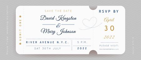 Gold and Blue Movie Ticket. Wedding Invitation Vector Design.Vintage luxury design.Admission vip ticket of circus,party,cinema,theater,concert.Coupons template ticketing label with seat numbers.