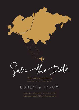 Europe & Asia Map Destination Wedding.Vintage Invitation overlay.Modern luxury vector design template.Atlas Travel Theme.
