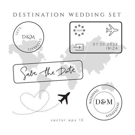 Destination Wedding Passport Invitation Vector Set. stamps pass template.World map atlas.Modern luxury design.