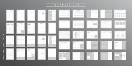 Set of minimalist abstract planners. Daily, weekly, monthly planner template. Blank printable vertical and horizontal notebook page with space for notes and goals. Business organizer. Paper sheet size A4.