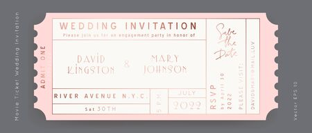 Rose Gold Foil Movie Ticket. Wedding Invitation Vector Design.Vintage luxury design.Admission vip ticket of circus,party,cinema,theater,concert.Coupons template ticketing label with seat numbers.
