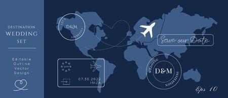 Destination Wedding Passport Invitation Vector Set.Visa stamps pass template.World map atlas.Modern luxury design. Ilustración de vector
