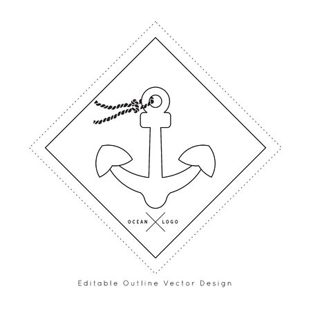 Anchor Nautical icon.Editable line vector.Sea and ocean symbol black isolated element.Template for logo or branding.Sailor 