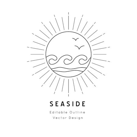 Oceanic waves Nautical icon.Editable line vector.Sea and ocean symbol black isolated element.Template for logo or branding.Sailor 