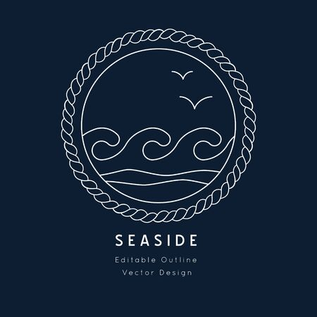 Water Waves Nautical vector icon. white on navy blue.Sea and ocean design.Template for logo or branding.Sailor cruise, yacht club, business identity, menu, card design.Editable line.