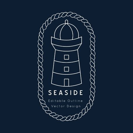 Lighthouse Nautical vector icon. white on navy blue.Sea and ocean design.Template for logo or branding.Sailor cruise, yacht club, business identity, menu, card design.Editable line. Illustration