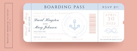 Nautical Wedding Invitation Vector Set.Boat Boarding Pass ticket template.Sailor theme in Classic vintage style.Elegant sea invite card overlay in white and navy blue colors. Modern luxury design. Vecteurs