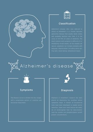 Alzheimer's disease vector poster.Senior health problems template.Grandfather silhouette isolated. Medicine handdrawn llustration made in doodle style, colourful design. Illustration