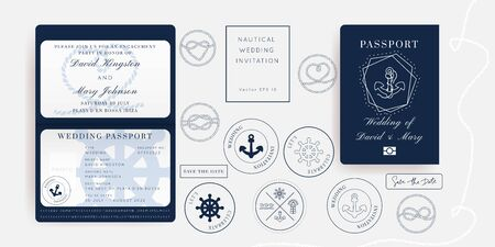 Nautical Wedding Invitation Vector Set.Boat Boarding Pass ticket template.Sailor theme in Classic vintage style.Elegant sea invite card overlay in white and navy blue colors. Modern luxury design.