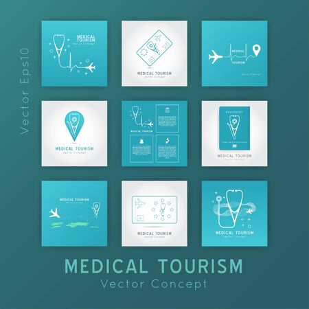 Medical Tourism set of vector concepts. Flat design modern template. Medicine service abroad background overlay.Poster with illustration of stethoscope,world map, airplane, passport.