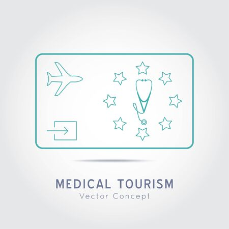 Medical Tourism vector concept. Flat design modern template.Medicine service stamp overlay.Poster with illustration of stethoscope,world map, airplane, passport.
