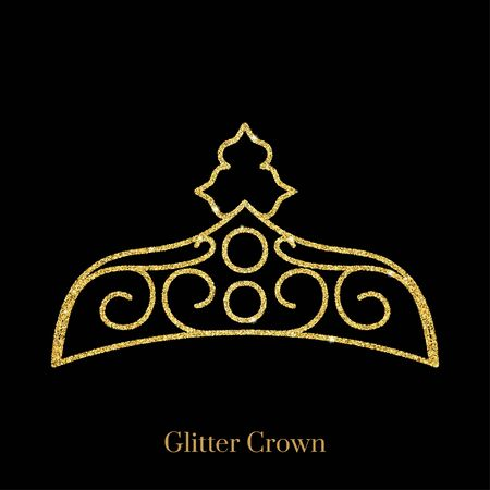 Glitter gold foil crown.Vector isolated icon.Glamour luxury design for selfie or video chat filter.Glow light confetti, bright sequins, sparkle tinsel, abstract bling, shimmer dust.