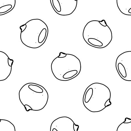 Nuts & seeds seamless pattern. Hand drawn doodle style Vector
