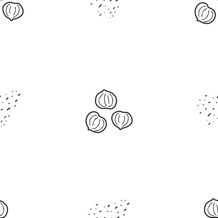 Hazelnut hand drawn vector seamless pattern. Outline monochrome texture made in doodle style.Fruit background for package, merch, wallpaper, menu and other design.