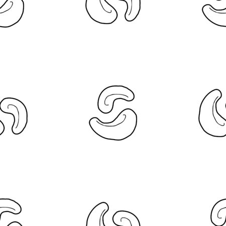 Cashew nut hand drawn vector seamless pattern. Outline monochrome texture made in doodle style.Fruit background for package, merch, wallpaper, menu and other design.