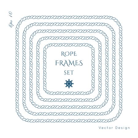 Rope knot border vector design. Isolated Marine frame in blue and white colors. Hand drawn ornaments in nautical style. Good for poster, t-shirt, card, menu, business identity, wedding invite.  Vectores