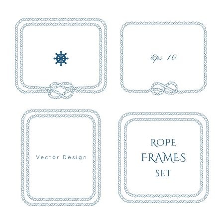 Rope knot border vector designs set. Isolated Marine frame in blue and white colors. Hand drawn ornaments in nautical style. Good for poster, t-shirt, card, 