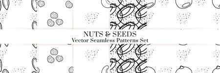 Nuts and seeds hand drawn vector seamless patterns set. Outline monochrome texture made in doodle style.Fruit background for package, merch, wallpaper, menu. Illusztráció