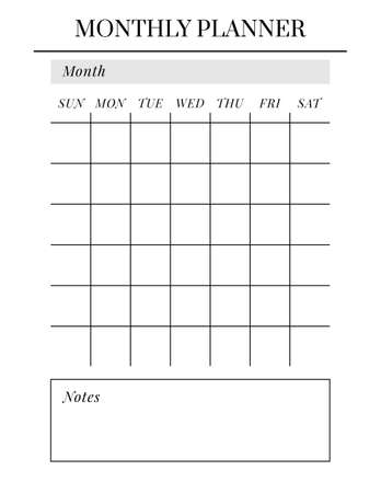 US Letter size Vector Planner template. Blank printable vertical notebook page. Business organizer. Calendar daily, weekly, monthly, yearly, habit tracker, project, notes, goals. Week starts on Sunday