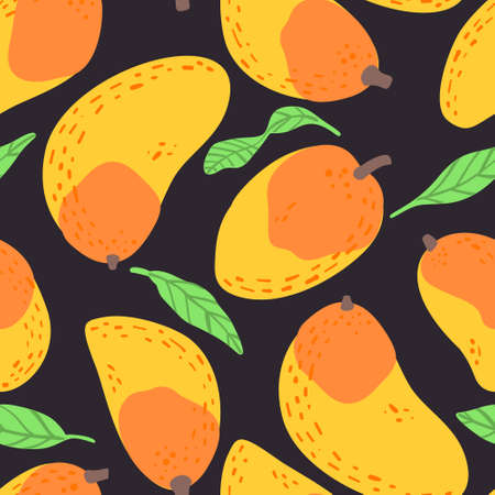 Mango fruit pattern. Vector seamless  Exotic background made in funny doodle style. Clipart food elements. Hand painted elements. Stockfoto - 151126830