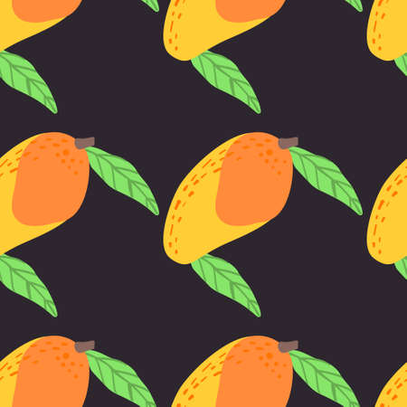Mango fruit pattern. Vector seamless  Exotic background made in funny doodle style. Clipart food elements. Hand painted elements. Stockfoto - 151126831