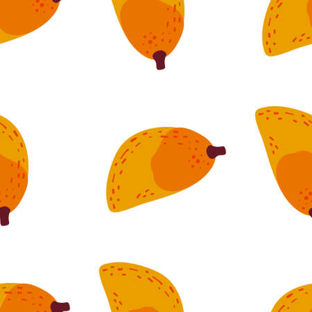 Mango fruit pattern. Vector seamless  Exotic background made in funny doodle style. Clipart food elements. Hand painted elements. Stock Illustratie