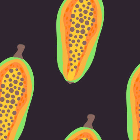 Exotic fruit pattern. Vector seamless background made in funny doodle style. Clipart food elements. Hand painted elements. Stockfoto - 151126837