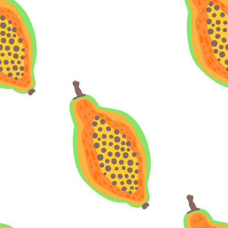 Exotic fruit pattern. Vector seamless background made in funny doodle style. Clipart food elements. Hand painted elements.