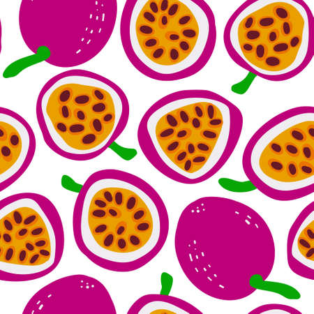 Passion fruit Exotic fruit pattern. Vector seamless background made in funny doodle style. Clipart food elements. Hand painted elements. Stockfoto - 151126839