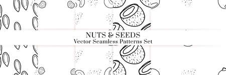 Nuts and seeds hand drawn vector seamless patterns set. Outline monochrome texture made in doodle style.Fruit background for package, merch, wallpaper, menu. 向量圖像