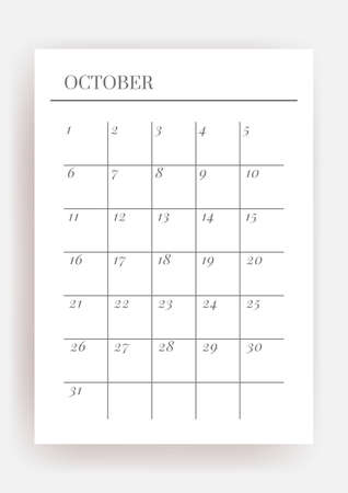 A4 size Vector Planner template. Blank printable vertical notebook page. Business organizer. October  Calendar habit tracker, project, notes, goals. 일러스트