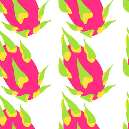 Dragon Fruit Exotic pattern. Vector seamless background made in funny doodle style. Clipart food elements. Hand painted elements.