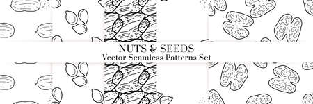 Nuts and seeds hand drawn vector seamless patterns set. Outline monochrome texture made in doodle style.Fruit background for package, merch, wallpaper, menu. Ilustrace