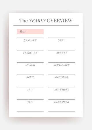 Paper size A4 Vector Planner template. Blank printable vertical notebook page. Business organizer. Calendar daily, weekly, monthly, yearly, habit tracker, project, notes, goals. Week starts on Monday