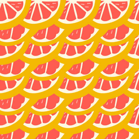 Pink Grapefruit. Exotic juicy fruit pattern. Vector seamless background made in funny doodle style. Clipart food elements. Hand painted elements.
