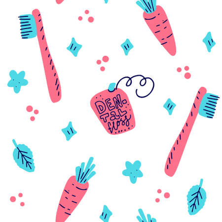 Kids oral care vector template for social media banner. Dental hygiene pattern.Dentist Medicine hand drawn icon. Textured illustration made in funny flat doodle style.