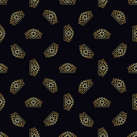Golden crown seamless vector pattern. Geometric gold outline symbol of royalty. Vintage King and Queen  Background.
