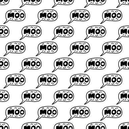 Hand drawn lettering quote - Moo- in speech bubble.Seamless pattern background. Custom typography for your designs:t-shirts,bags,posters,invitation.