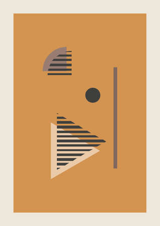 Vector Autumn vertical background with abstract elements and shapes in Boho style. Wall art composition minimalist Mid century modern.