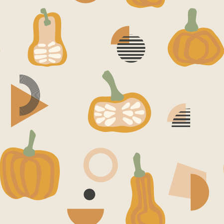 Seamless autumn pumpkin vector pattern. Perfect for wallpaper, gift paper, pattern fills, web page background, fall greeting cards.