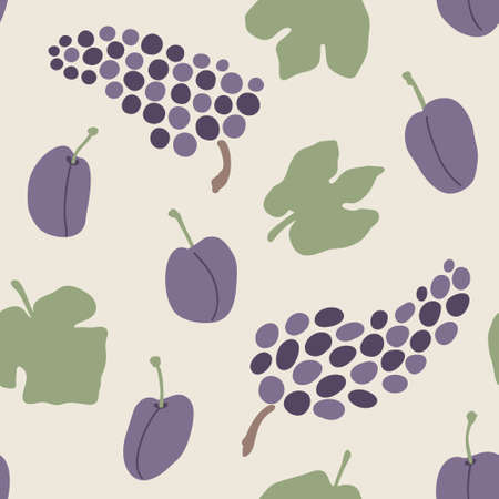 Seamless autumn grapes vector pattern. Perfect for wallpaper, gift paper, pattern fills, web page background, fall greeting cards.