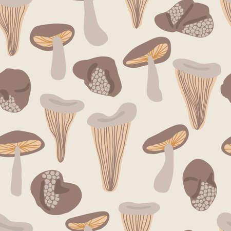 Seamless autumn mushrooms vector pattern. Perfect for wallpaper, gift paper, pattern fills, web page background, fall greeting cards.