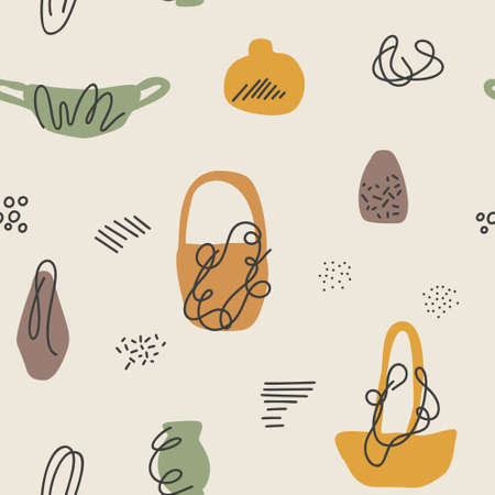 Seamless autumn vase, bowl and basket vector pattern. Perfect for wallpaper, gift paper, pattern fills, web page background, fall greeting cards.