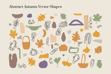 Vector abstract Autumn organic elements and shapes in Boho style. Good for wall decoration, postcard or brochure cover design. Minimalist Mid century modern Fall.