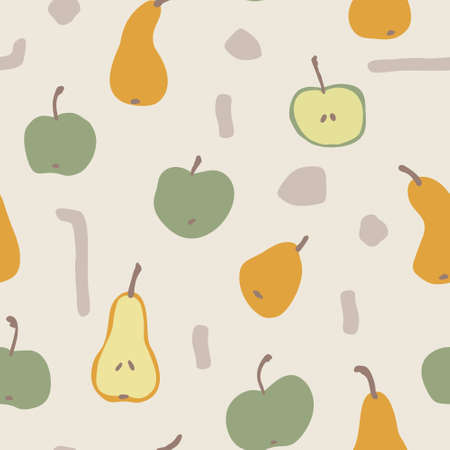 Seamless autumn apple and pear vector pattern. Perfect for wallpaper, gift paper, pattern fills, web page background, fall greeting cards. 向量圖像