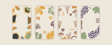 Set of Autumn vector vertical backgrounds with abstract elements and shapes in Boho style. Background for mobile app page minimalist Mid century modern Fall.