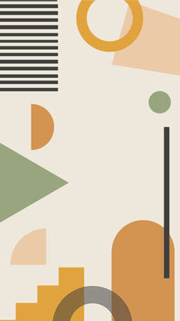 Vector vertical background with abstract elements and shapes in Boho style. Background for social media stories. Minimalist Mid century modern. Ilustrace