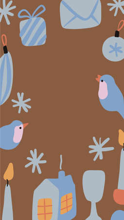 Vector vertical Christmas and New Year background with abstract elements and shapes in Boho style. Background for social media stories. Minimalist Mid century modern.