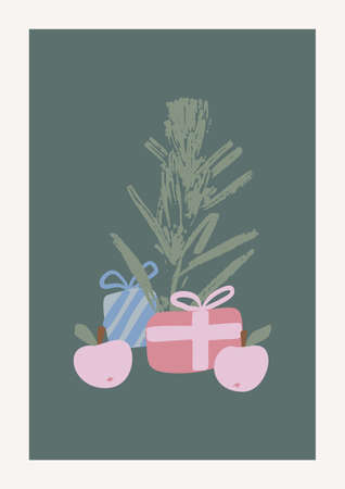 Christmas and Happy New Year Vector composition. Boho wall decor. Mid century modern minimalist art print. Organic natural shape. Spruce, apples and gifts.